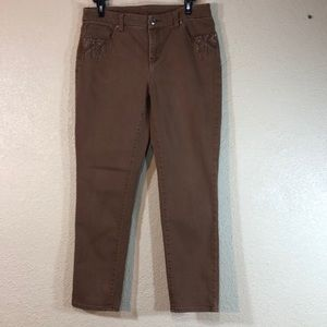 Chico's Jeans Brown Size 0 S/4Embellished Pockets